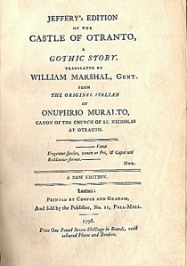Title page from the 1796 edition of The Castle of Otranto
